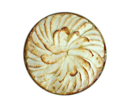 custard apples: Tarte Normande - variant apple tart made in Normandy filled with apples, sliced almonds and sugar topped with creamy egg custard tart Stock Photo