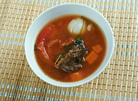 moong: shurpa chaban - Uzbek cuisine . lamb soup with tomatoes