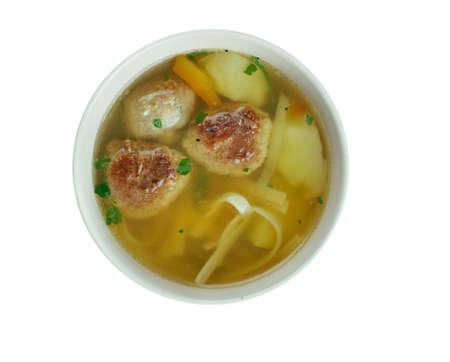 uzbek: kiimaschurpa - Traditional uzbek soup Shurpa with  meatballs