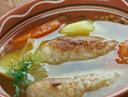 uzbek: Kofta shurpa -Traditional uzbek soup with  meatballs