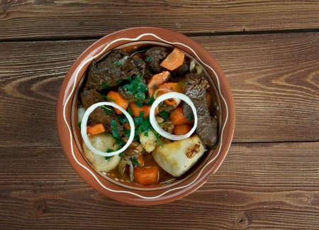 uzbek: zharkop -grilled meat and vegetables. traditional Uzbek hot.Central Asian cuisine