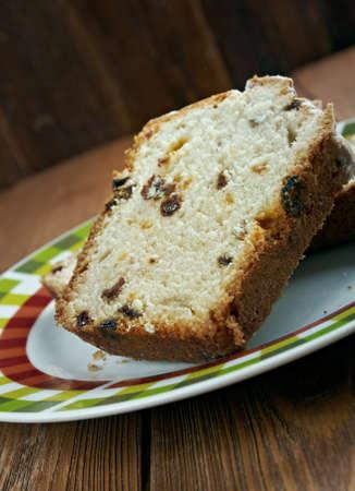 sultanas: Barmbrack - Irish yeasted bread with added sultanas and raisins Stock Photo