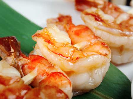 l plate: Japanese skewered  seafoods  royal prawn .closeup