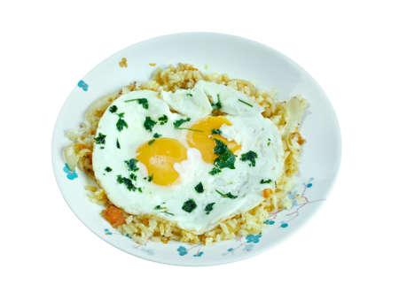 azerbaijani: sheshryanch  eggs plov. Azerbaijani cuisine dish
