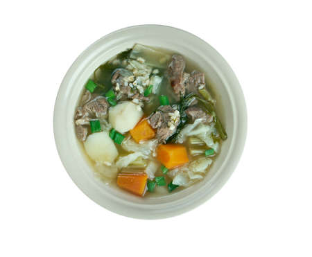 uk cuisine: Hairst Bree - Harvest Broth.traditional Scottish recipe for a classic hearty broth of lamb meat, mixed autumnal vegetables.