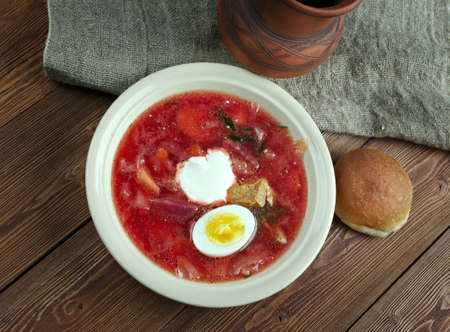 central european: Polish barszcz  -beetroot soup with egg ,popular in many Eastern and Central European cuisines.