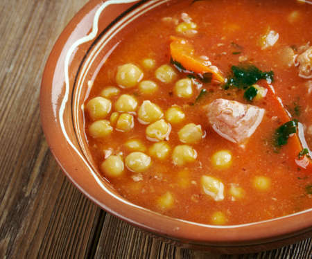 algerian: Chorba homos -  Algerian chick-pea Soup with meat and vegetables Stock Photo