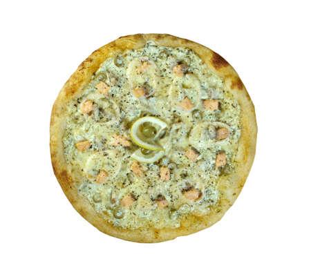 yegua: Pizza ai frutti di mare sardinas y salm�n Foto de archivo