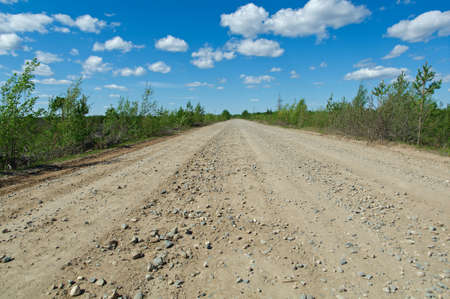 streight: Russian rural landscape with road  Distance in Forest.Arkhangelsk region of Russia Stock Photo
