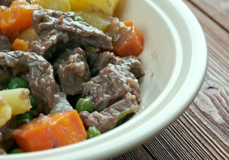 the throughout: Scouse -  type of lamb or beef stew. stew commonly eaten by sailors throughout Northern Europe, which became popular in seaports  Liverpool. Stock Photo