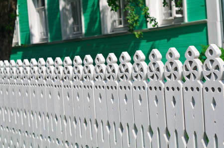 palisade: carved palisade. Vologda city, Russia Stock Photo