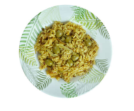 latin america: Arroz con gandules -  rice, pigeon peas . cooked  pot with Puerto Rican-style. popular throughout Latin America and the Caribbean. Stock Photo