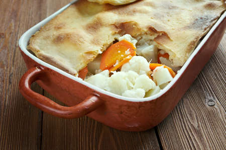 swede: Woolton pie -  dish of vegetables, widely served in Britain. cooking potatoes (or parsnips), cauliflower, swede, carrots and, possibly, turnip