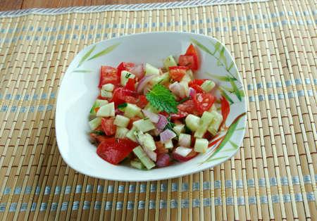 sallad: Israeli salad - Mediterranean sallad close up