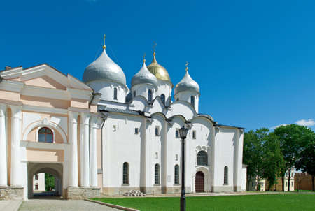 veliky: Saint Sophias Cathedral . Veliky Novgorod. Russia Editorial