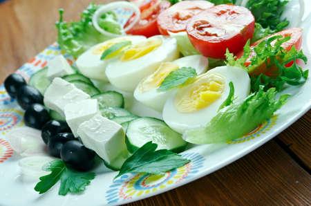 soleil: salade composee du soleil - Mediterranean salad.French cuisine