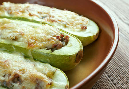 balkans: Punjene tikvice- zucchini stuffed with rice and meat. dish common in all Balkans countries Stock Photo