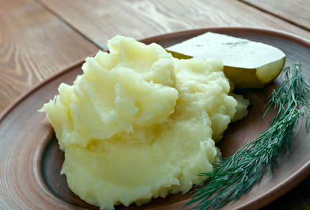 french cuisine: Aligot - dish made from melted cheese blended into mashed potatoes .French cuisine Stock Photo