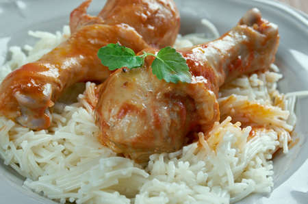 sauce dish: Youvetsi. Braised Chicken with pasta  Tomato Based Sauce. baked Greek meat dish