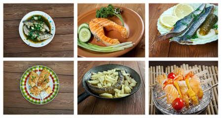 corcovado: Alimentaci�n conjunto de diferentes mariscos. collage