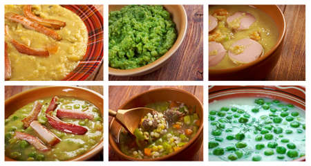 sou: Food set of different pea   soups. collage