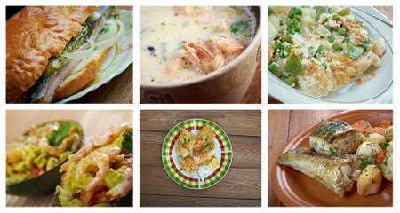 pikeperch: Food set of different  seafoods. collage