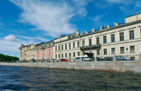 rive: Near the Fontanka river .View of  ancient buildings .Saint-Petersburg, Russia.June 4, 2015