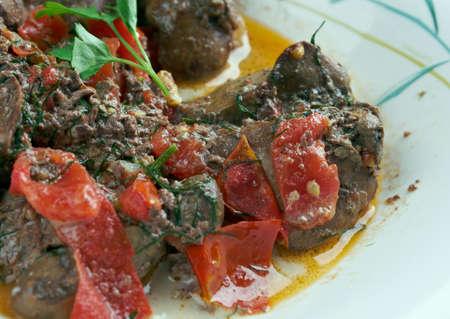 lebanese food: Kibed Makli - roast chicken liver . Lebanese Food Stock Photo