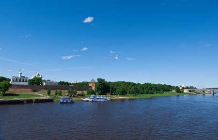 veliky: View at river Volkhov in Veliky Novgorod.Russia, Stock Photo