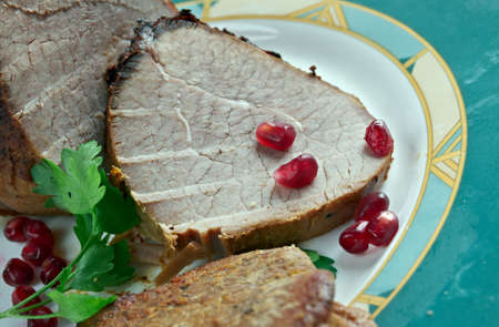 baked meat: Sliced peppered  Roast Scotch Fillet - baked meat on Scottish