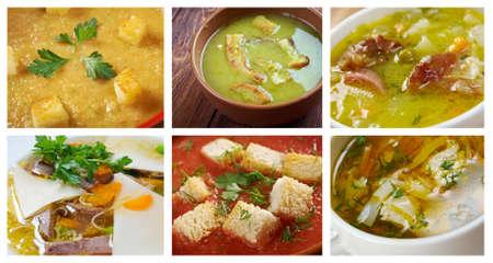 comidas saludables: Alimentación conjunto de sopa diferente. collage