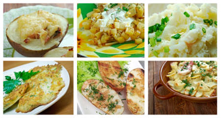 crocchette: Food set of different  potato dish . collage