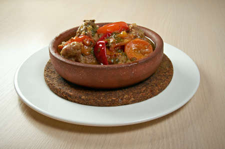 georgian: chakhokhbili  with tomatoes and onions .Georgian Chicken traditional food