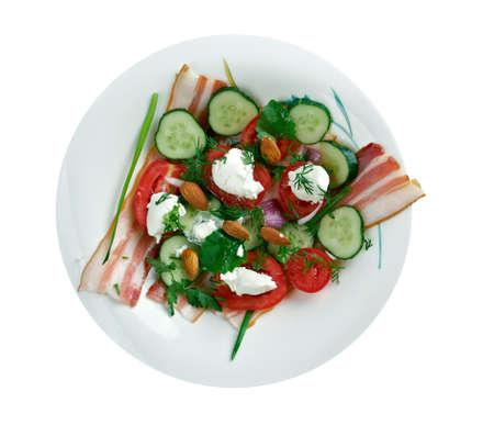 french cuisine: Salade Aveyronnaise. French cuisine close up
