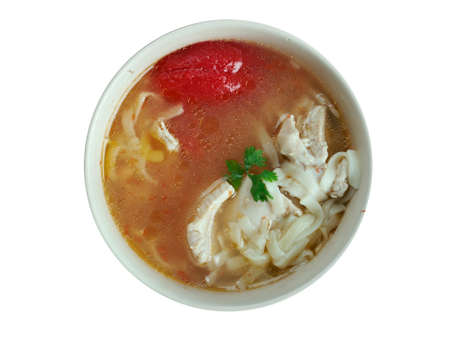 uzbek: Oriental chicken soup tovuk shourpa  .Uzbek cuisine