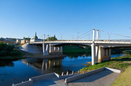 redbrick: Dnipro River and the bridge. View of Smolensk. Russia Stock Photo