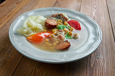 sopa: Puchero -  stew originally from Spain, prepared inMexico, Argentina, Colombia, Paraguay, Uruguay. basic ingredients of the broth are meat ,chickpeas, cabbage