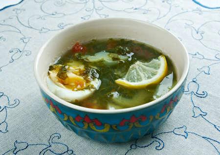 uzbek: kok-shourpa - Uzbek soup with veal,sorrel and egg