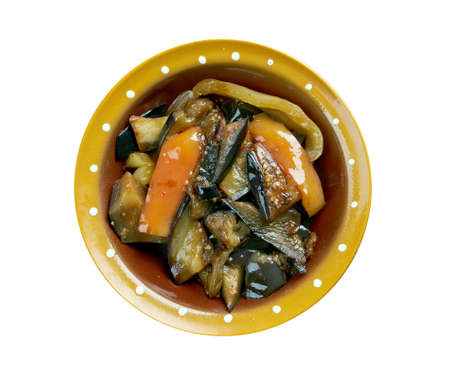 sweet peppers: Di san xian -  Chinese dish made of stir-fried potatoes, aubergine (egg-plant) and sweet peppers