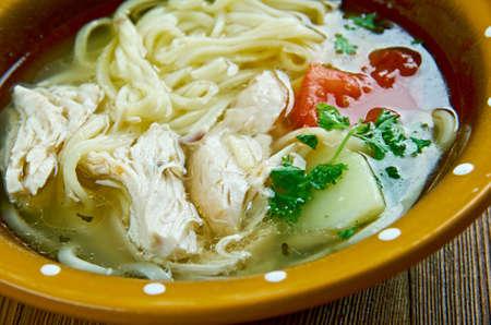 uzbek: ugra-osh - Uzbek chicken noodles soup Stock Photo