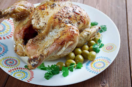dinne: Poulet Garni  - roasted chicken with herbs. French cuisine