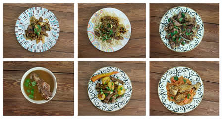 uzbek: Food set oriental Uzbek   cuisine.collage
