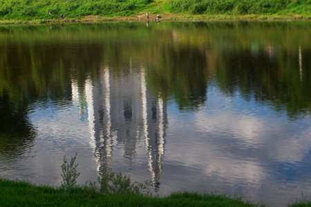 reflected: Saint Sophia Cathedral church .reflected in water.Polotsk city, Belorussia