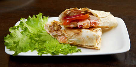 porc: Roll, strudel from pancakes, crepes with porc, cheese, creamy tast