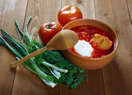 potato soup: ukrainian and russian red-beet soup (borscht) with garlic and sour cream
