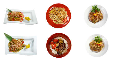 chinese food: Food set of different noodles  chinese cuisine . collage