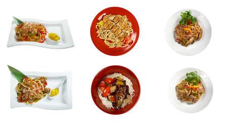 chinesisch essen: Lebensmittel Satz von verschiedenen Nudeln chinesische Küche. Collage Lizenzfreie Bilder