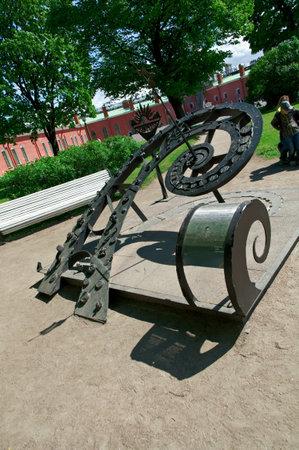 saints peter and paul: The Sundial Sculpture,Saint-Petersburg, Saints Peter and Paul fortress .Russia.June 4, 2015 Editorial