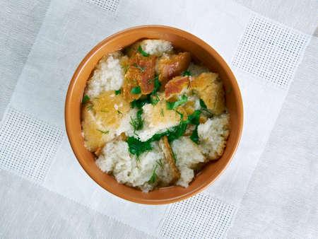 stale: Wodzionka -  Polish  Silesian soup .  made from stale bread. Stock Photo