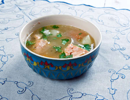 uzbek: balik shurpa -  Uzbek fish soup.